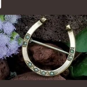 Jewelry - Antique 10K Gold Seed Pearl Horseshoe Brooch Pin